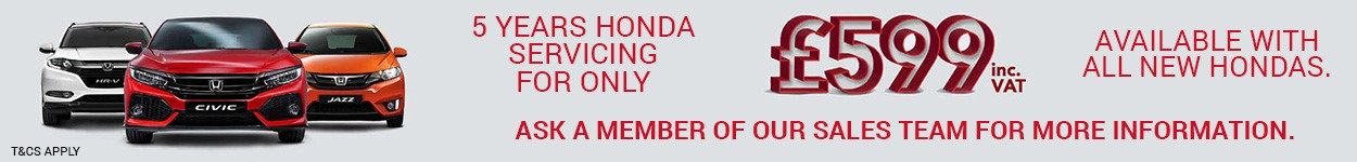 5 years servicing on all new Hondas from just £599