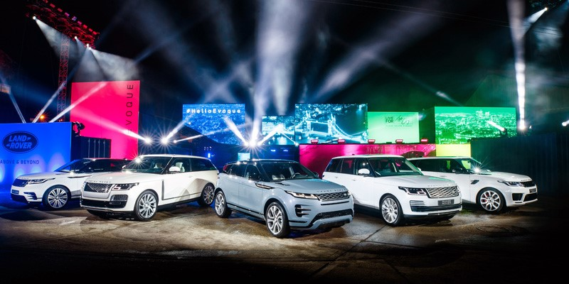 Land Rover's highly-anticipated luxury compact SUV, the New Range Rover Evoque, has been revealed in London's creative East End with a high-energy display which saw a number of vehicles driving across digital skylines around the globe.