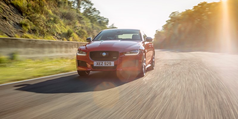 Jaguar XE sports saloon establishes lap record for a production saloon at the original Circuit de Charade, Clermont Ferrand. Record set on first flying lap of the former GP circuit for 30 years