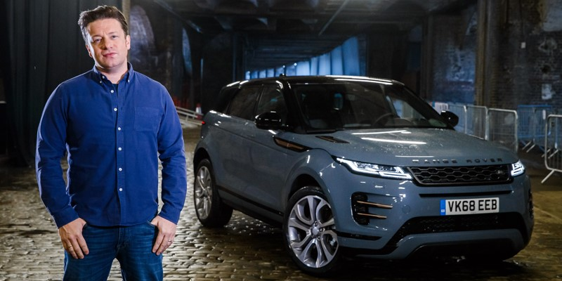 Celebrity chef Jamie Oliver became one of the first people to drive the new Range Rover Evoque, visiting some of his favourite London foodie spots for ingredients to create the city's best veggie burger.