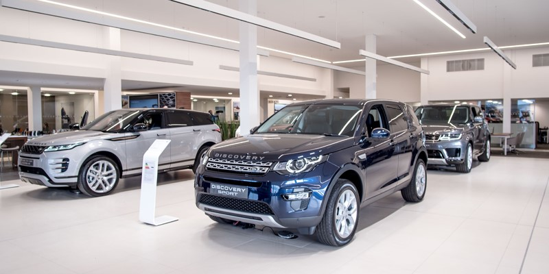 new, car, Land Rover, showroom, Kelso