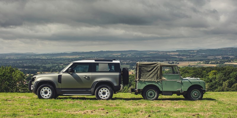 New and old Land Rover Defender