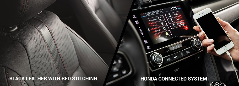 The Honda Civic Sport Line comes with black leather with red stitching and connected drive as standard.