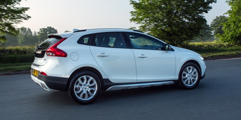White Volvo V40 Cross Country side angle