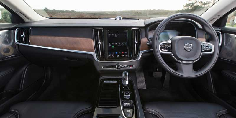The New Volvo V90 interior shot featuring dashboard and steering wheel