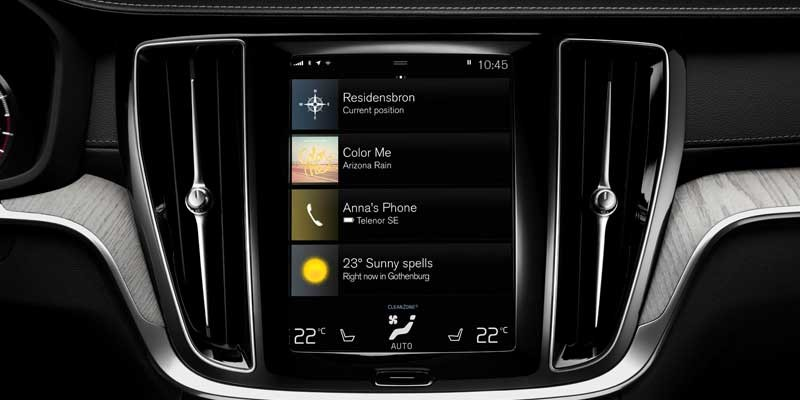 Photo of the centre touch screen in a new Volvo V60