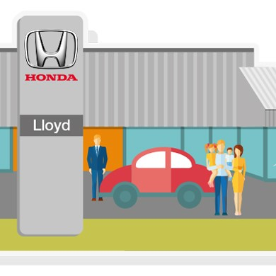 Lloyd Honda Cartoon image of the dealership