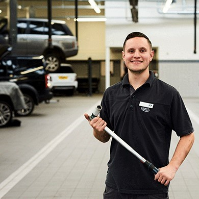Land Rover technician in service centre workshop