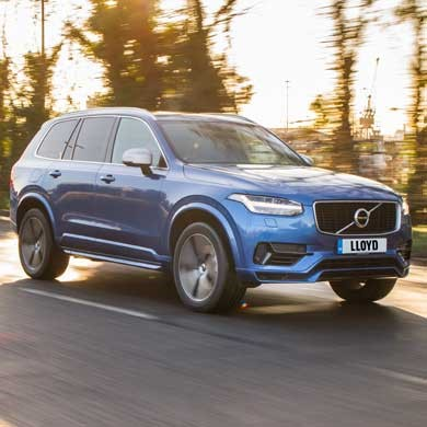 Blue volvo xc90 driving