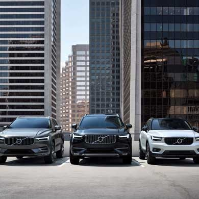 line up of Volvo xc40 xc60 and xc90